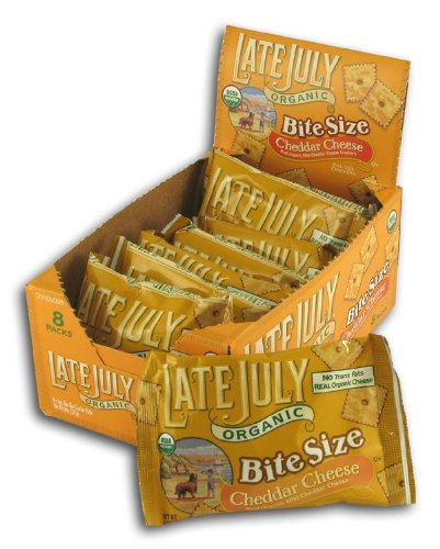 Late July Snacks Organic Bite Size Cheddar Cheese Crackers - 8 oz