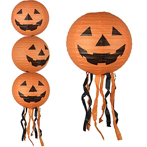 (3Pcs Spherical Pumpkins Hanging Pendant Halloween Decorations Foldable Paper)