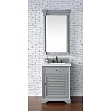 "James Martin Furniture 238-104-V26-UGR-3SNW Savannah Collection 26"" Single Vanity, Choose Finish: Snow White Quartz, Vanity Top Thickness: 3CM Vanity Top Thickness"