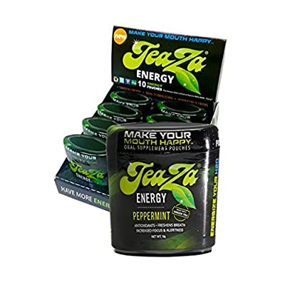 TeaZa Energy Smokeless Tobacco Alternative (8 Pack - Flip Tops) Helps You Quit Chewing Tobacco Snuff - Nicotine Free Herbal Energy Dip - Flavored Tobacco Free Chew Helps You Quit Dipping - Peppermint