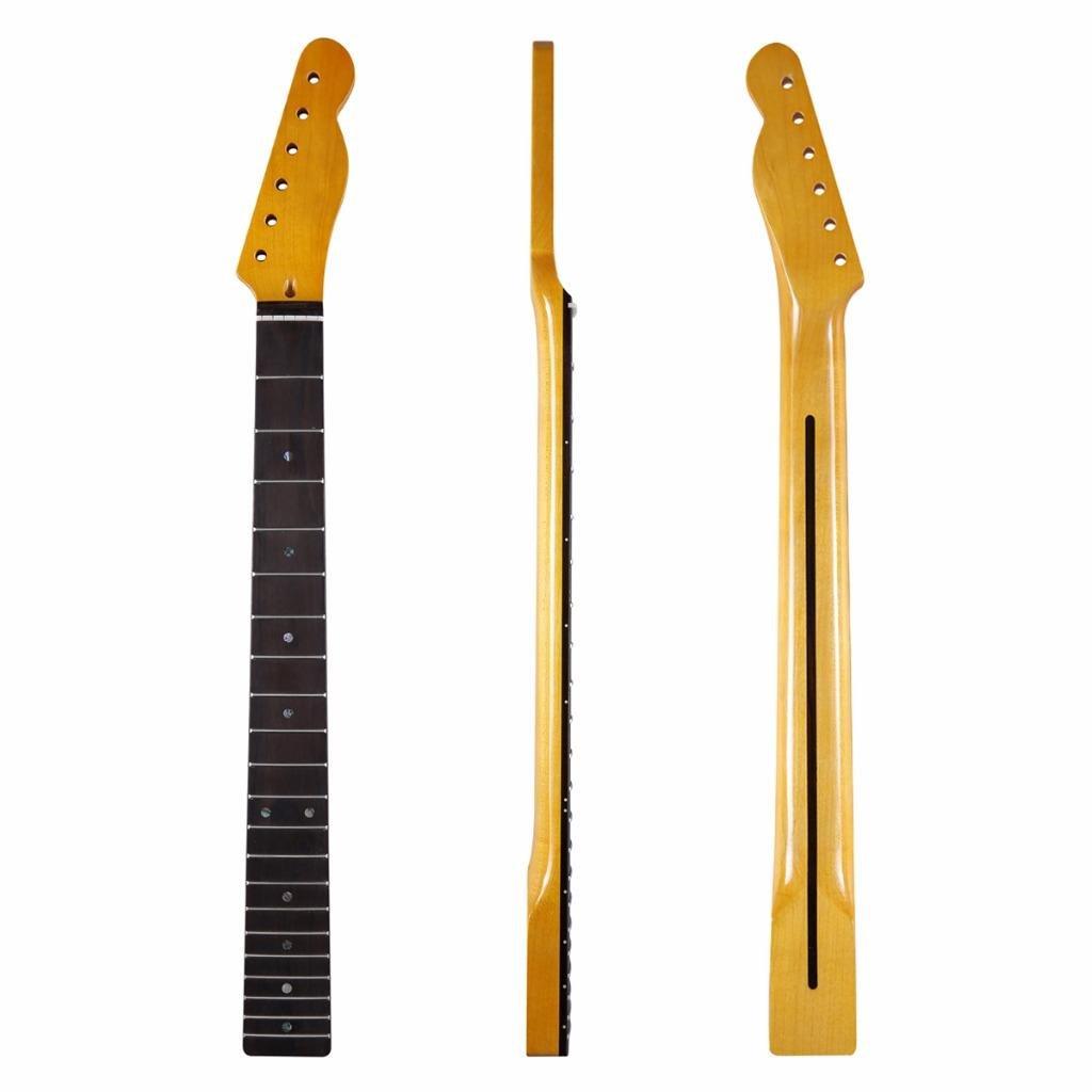 KAISH 21 Fret Glossy Vintage Yellow''U'' Profile Tele Maple Neck Rosewood Fingerboard with Bone Nut Abalone Inlay