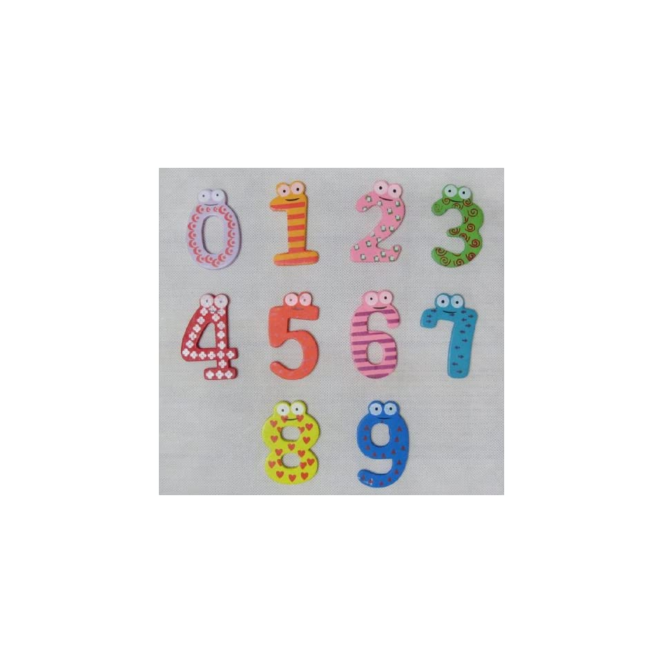 Afrom Here Colorful Magnetic 0 9 Numbers Wooden Fridge Magnets Kid toys Education   Refrigerator Magnets