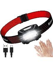 Blukar Hoofdlamp oplaadbaar, superheldere LED-koplampkoplamp met bewegingssensorbediening, rode waarschuwingslichtfunctie, 6 verlichtingsmodi, lange batterijduur -IPX5 waterdicht voor kamperen, wandelen enz