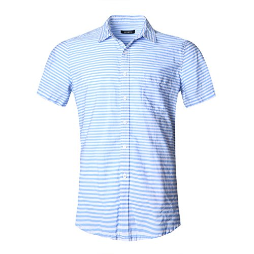 [해외]GILBETI 남성용 스트라이프 버튼 다운 칼라 드레스 셔츠/GILBETI Men`s Stripe Button Down Collar Short Sleeve Dress Shirt