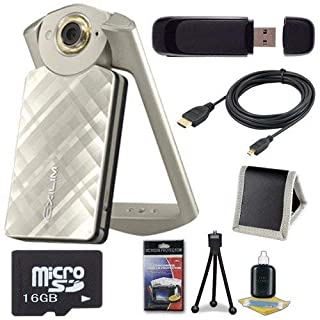 6Ave Casio EX-TR50 Self Portrait/Selfie Digital Camera (Gold) + 16GB microSD Memory Card + Micro HDMI Cable + SDHC Card USB Reader + Memory Card Wallet + Deluxe Starter Kit Bundle
