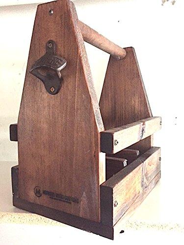 Rustic 6-Pack Beer Carrier w/Bottle Opener