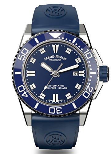 Armand Nicolet Men's Diver Automatic Watch Blue with Rubber Bracelet A480AGU-BU-GG4710U