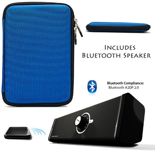 BLUE Protective Durable Hard Cube Nylon Carrying Case, Lightweight Hard Shell Cover For Samsung Galaxy Tab 3 Android Tablet 7-inch Display Thinner Bezel + Supertooth Disco Bluetooth Speaker with AUX Cable by Vangoddy