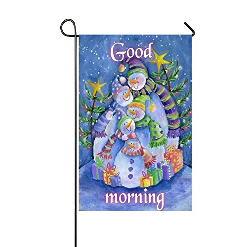Small Mim Winter Good Morning Snowman Family Presents Together Garden Flag Holiday Decoration Double Sided Flag 12.5