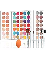 Beauty Glazed 63 Shades Eyeshadow Pigmented Shimmer Matte MakeUp Palettes Pearlescent Colors Gorgeous Me Eye Makeup Powder +7Pcs MakeUp Brushes Kit + Beauty Powder Sponge Blender