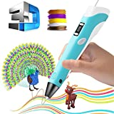 Wsiiroon 3D Printing Pen, 3D Doodler Pen with 1.75mm PLA Filament Pack of 5 Different Colors, Safe Doodler Model Making and Art Crafts Tool with LED Display Perfect Gift for Kids Adults
