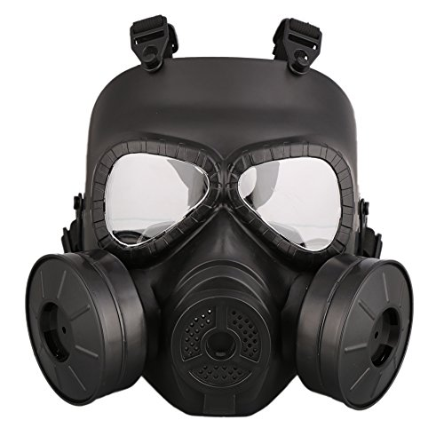 Bornbay Outdoor Sports Full Face Mask Protective Gas Mask TPU Game Mask with Dual Filter Fans