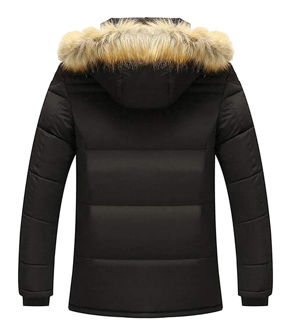 Fensajomon Mens Plus Size Hooded Faux Fur Lined Winter Down Quilted Jacket Coat Outwear