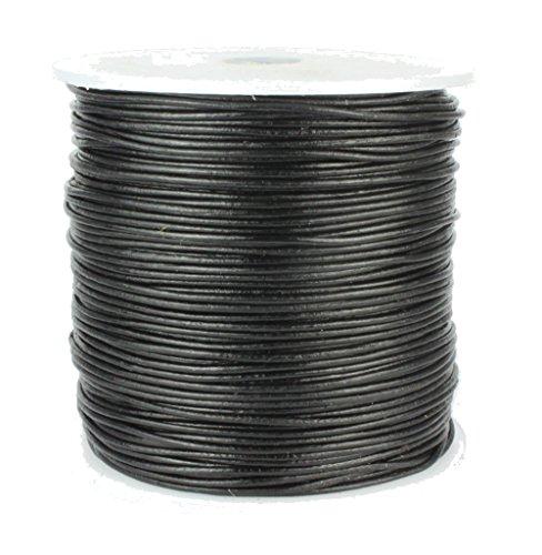 Round Leather Cord, 100 Meters Bulk Spool, 1.0 millimeter Black