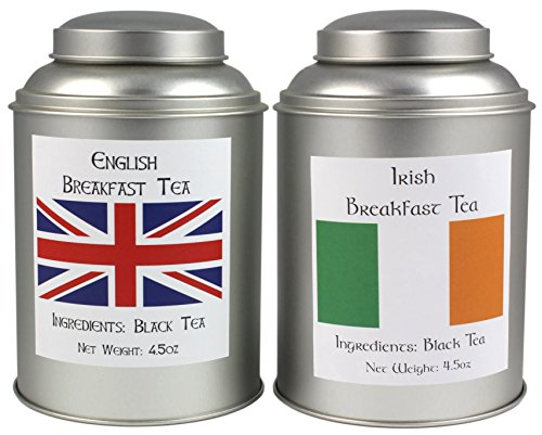 Irish Breakfast Tea & English Breakfast Tea Sampler, World Famous Loose Leaf Breakfast Teas (British Tea Canister compare prices)