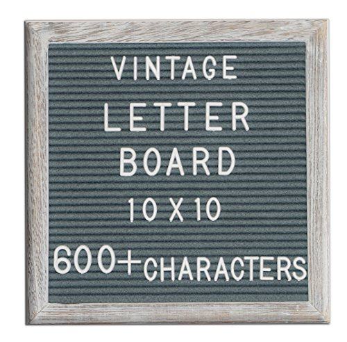 Changeable Letter Board Dark Grey Felt 10x10 Inches. Changeable Wooden Message Board Sign. White Vintage Letter Board With Large and Small Letter Sets. Distressed Wood Frame by Retrominded