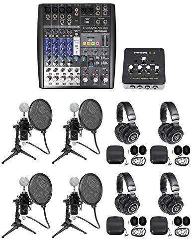 Presonus AR8 Podcast Podcasting Studio Bundle w/(4) Mics+Headphones+Desk Stands ()