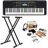 Yamaha PSRE253 61-Key Portable Keyboard Bundle with Knox Adjustable Double X Keyboard Stand and Yamaha Survival Kit B (Includes Power Supply and 2 Year Extended Warranty)