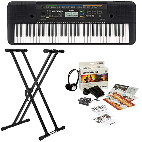 yamaha-psre253-61-key-portable-keyboard-bundle-with-knox-adjustable-double-x-keyboard-stand-and-yama