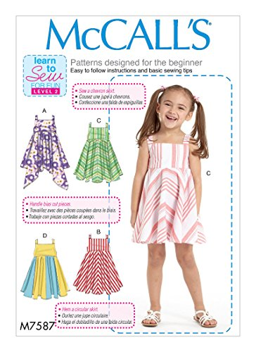 MCCALLS M7587 Girls' Dresses with Square Neck,Circular Skirt Variations (SIZE 6,7,8) SEWING PATTERN (Circular Sew Skirt)
