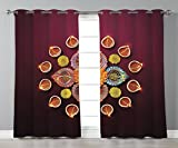Thermal Insulated Blackout Grommet Window Curtains,Diwali,Festive Celebration Tribal Religious Sacred Flowers Burning Candles Print,Orange Yellow,2 Panel Set Window Drapes,for Living Room Bedroom Kitc Review