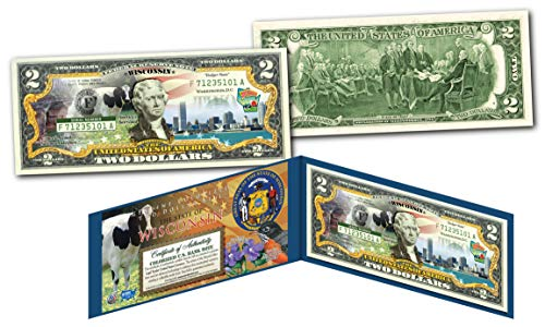 WISCONSIN Collectible Art Two-Dollar Bill with Certificate Honoring America