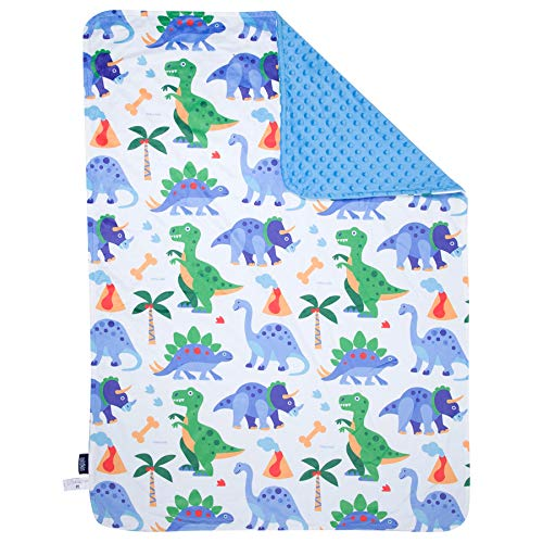 Wildkin Plush Blanket, Made from Ultra-Soft Velour Double Layer Dotted Backing, Perfect Keeping Little Ones Warm, Coordinates Other Décor, Olive Kids Design – Dinosaur Land