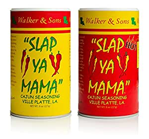 Slap Ya Mama All Natural Cajun Seasoning from Louisiana, Spice Variety Pack, 8 Ounce Cans, 1 Original Cajun and 1 Hot Cajun Blend