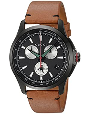 Swiss Quartz Stainless Steel and Leather Dress Brown Men's Watch(Model: YA126271)