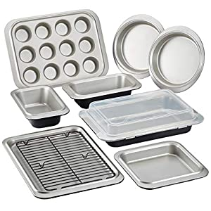 Anolon 47086 Allure Nonstick Bakeware Set with Nonstick Bread Pans, Cookie Sheet, Baking Pans with Lid, Cake Pans and Muffin/Cupcake Pan – 10 Piece, Onyx/Black/Pewter