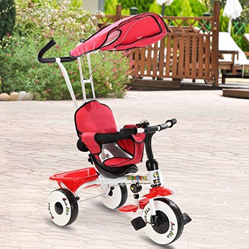 Costzon 4-in-1 Kids Steer Tricycle Stroller Bike w/Canopy Ba