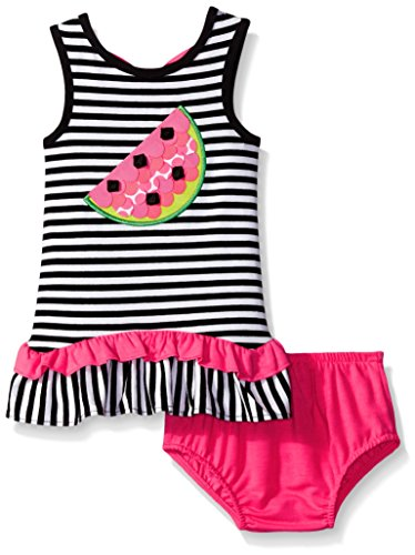 Rare Editions Baby Little Girls' Striped Knit Dress With Watermelon Applique, Black/White, 24 Months - Rare Editions Baby Dresses