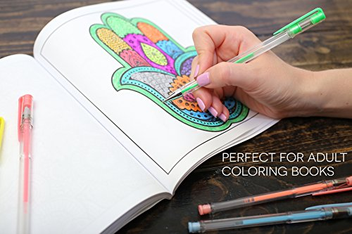 Glitter Gel Pens set - 15 Unique colors pens with Case from Uchtam -Best suited for Adult coloring book and Gifts. Non-Toxic, Long Lasting Ink, Acid Free, Smooth Ink Flow Photo #4