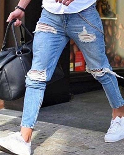 Fit Jeans Slim Pantalones Zarco Rotos Vaqueros Hombres Tobillo Casuales Al CwqtvI