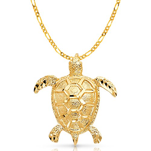 Ioka Jewelry - 14K Yellow Gold Turtle Charm Pendant with 3.1mm Figaro 3+1 Chain Necklace - 20