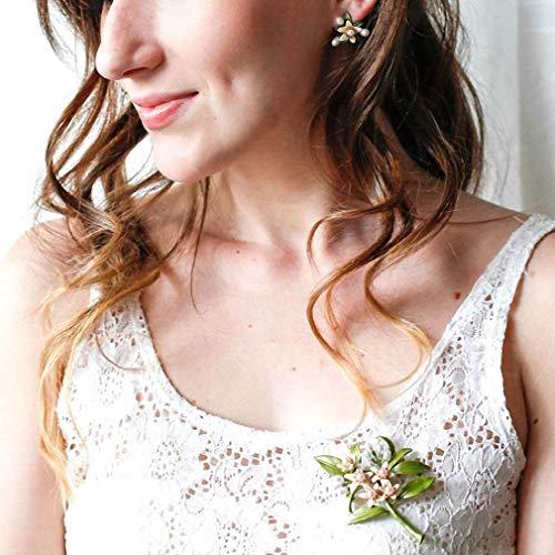 Orange Flower Tree Brooches Natural Pearls Brooch Scarves Buckle Accessories Stud Earrings by Jana Winkle (Image #4)