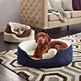 Furhaven Sherpa and Suede Orthopedic Oval Pet Bed, Large Clay