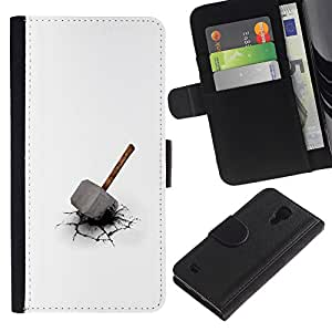 KLONGSHOP // Tirón de la caja Cartera de cuero con ranuras para tarjetas - Martillo de Thor - Samsung Galaxy S4 IV I9500 //