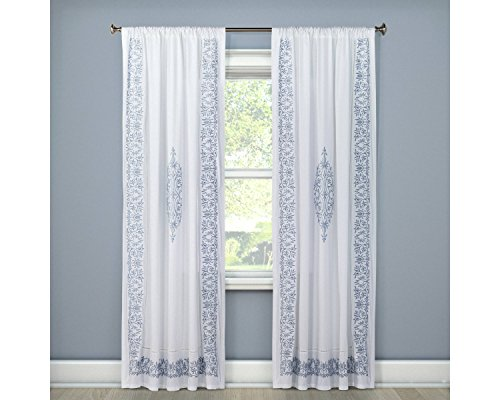 (Simply Shabby Chic Blue Border Cotton Embroidered Window Drapery Curtain Panel White (54
