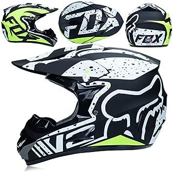 JINWEI Adulto Motocross Casco/Gafas/Máscara/Guantes Moto Casco,B,S