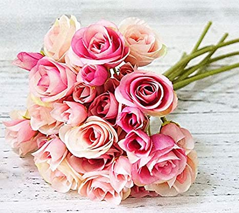 Amazon Com Mistari 9 Pack 18 Heads Plastic Artificial Flowers Roses Fake Silk Flowers Home Decorative Party Wedding Pink Furniture Decor