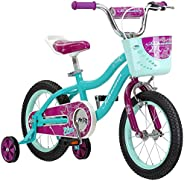 Schwinn Elm Girls Bike for Toddlers and Kids, 12, 14, 16, 18, 20 inch Wheels for Ages 2 Years and Up, Pink, Pu