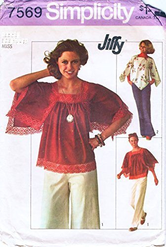 Amazon.com: Simplicity 7569 Vintage Misses\' Jiffy Pullover Tops ...