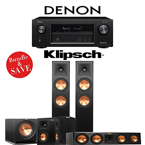 Klipsch RP-260F 5.1-Ch Reference Premiere Home Theater System with Denon AVR-X3400H 7.2-Channel 4K Network AV Receiver by Klipsch