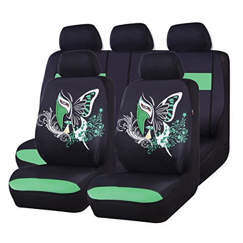 NEW ARRIVAL- CAR PASS 11PCS Insparation Universal Seat Covers Set Package-Universal fit for Vehicles,Cars With Opening Holes for headrest and selt belts ,Airbag Compatiable (Black With Green)