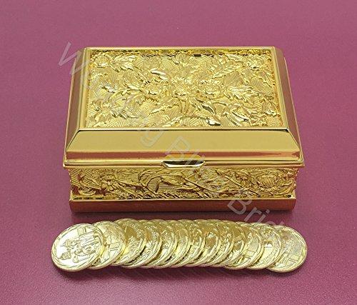 Gold Embossed Flower Wedding Arras Box and Unity Coins Arras de (Arras Box)