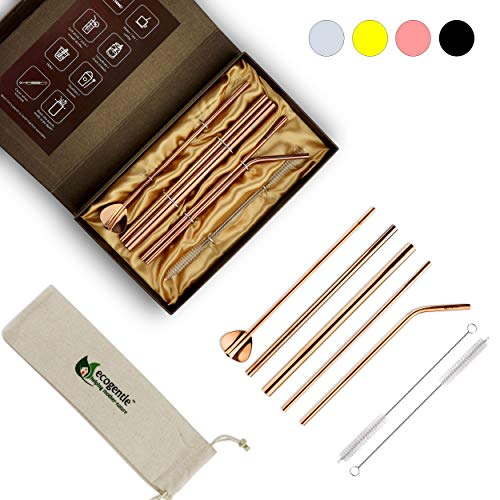 - Ecogentle Stainless Steel Reusable Straws - Personal/Gift Set (7 pcs, 8.5