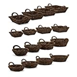 Ginger leaf & Metal baskets - Set of 4, 4 Assorted