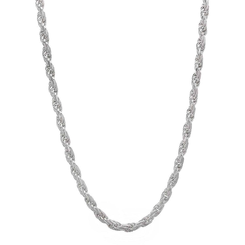 2.2mm 925 Sterling Silver Nickel-Free Diamond-Cut Rope Link Italian Chain + Bonus Polishing Cloth