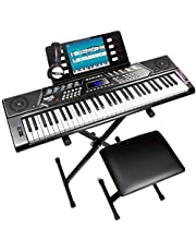 $108 » RockJam 61 Key Keyboard Piano With Pitch Bend Kit, Keyboard Stand, Piano Bench, Headphones, Simply Piano App & Keynote Stickers